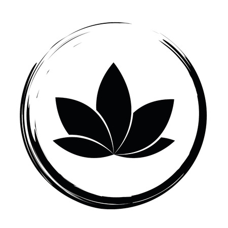 black lotus icon in a circle isolated on white background vector illustration Illustration
