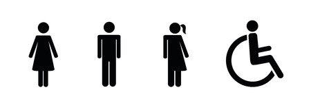 set of restroom icons including gender neutral icon pictogram vector illustration EPS10