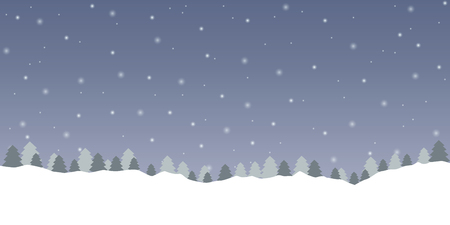 snowy winter background with forest landscape  vector illustration EPS10