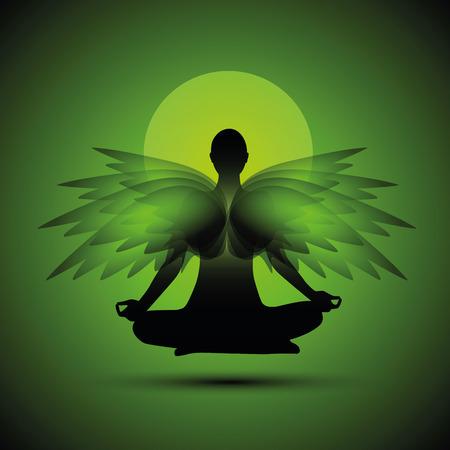 meditation yoga silhouette spirituality green wings vector illustration EPS10