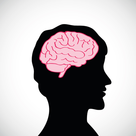 man with big brain silhouette vector illustration
