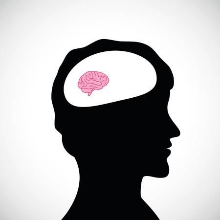 dumb man with small brain vector illustration
