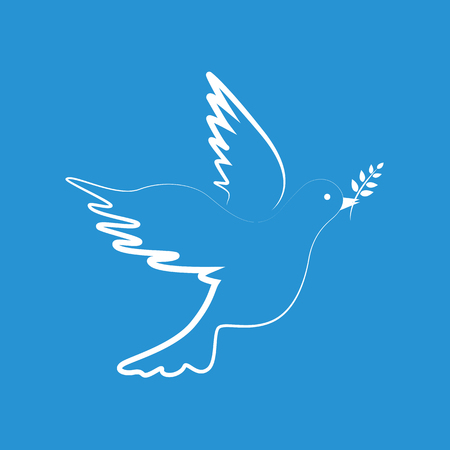 white peace dove on blue background vector illustration EPS10