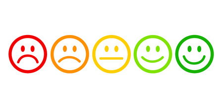 rating satisfaction feedback in form of emotions excellent good normal bad awful vector illustration Stock Vector - 126910510
