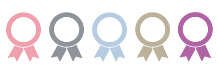 set of five award medals on white background vector illustration EPS10