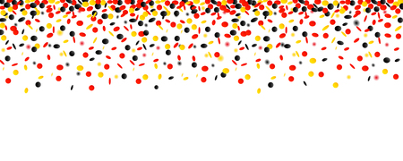 carnival and party confetti in black yellow and red colors isolated on a white background vector illustration EPS10 Illustration
