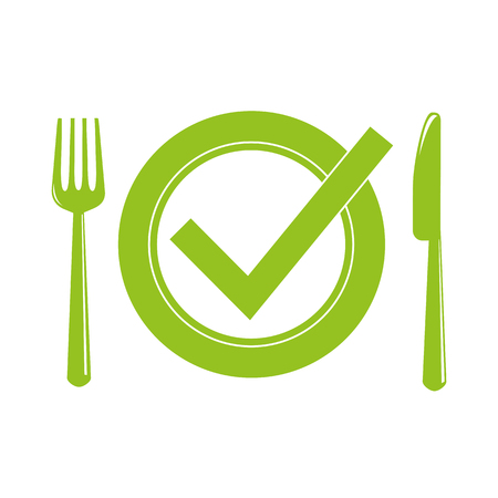 green plate with cutlery meal check vector illustration EPS10