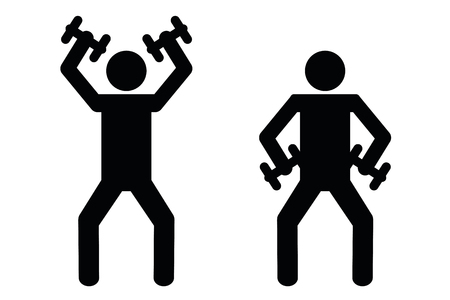 fitness workout with dumbbell pictogram vector illustration EPS10