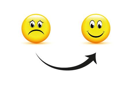 smiley faces sad to happy arrow icon vector illustration EPS10