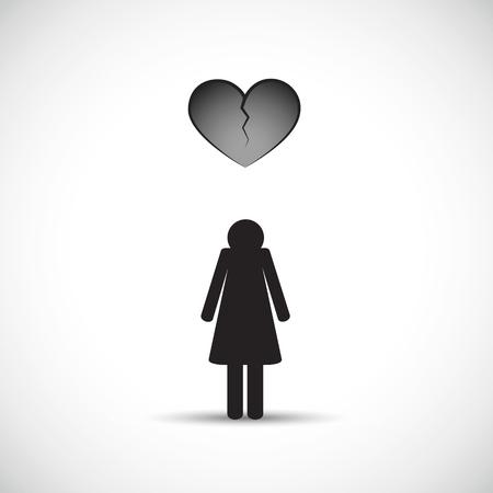 divorce heartache concept with sad woman and broken heart vector illustration EPS10