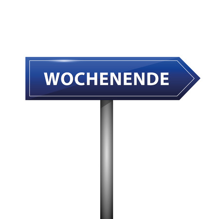 blue arrow sign with german text weekend vector illustration EPS10