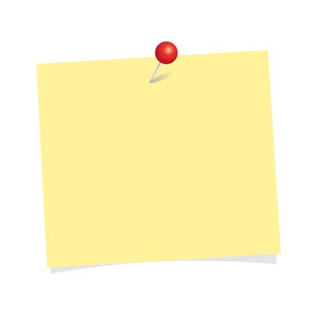 geel notitiepapier met rode pin geïsoleerd op een witte achtergrond vectorillustratie eps10 Vector Illustratie