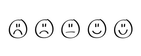 handdrawn black rating satisfaction feedback in form of emotions vector illustration