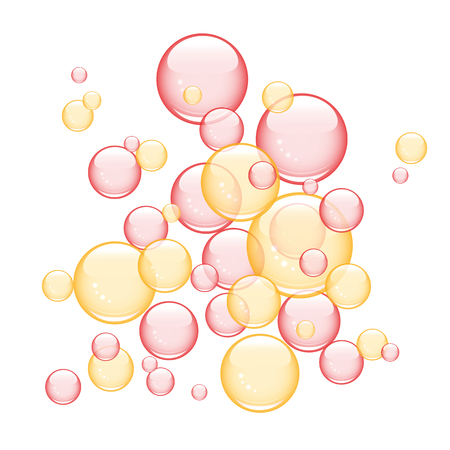 red and orange soap bubbles vector illustration EPS10