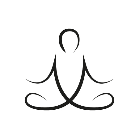 person in yoga pose line drawing vector illustration EPS10 Vector Illustratie
