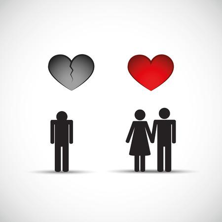El divorcio y la nueva relación corazón roto hombre triste ilustración vectorial EPS10