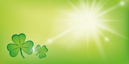 Fondo verde soleado con trébol trébol ilustración vectorial EPS10