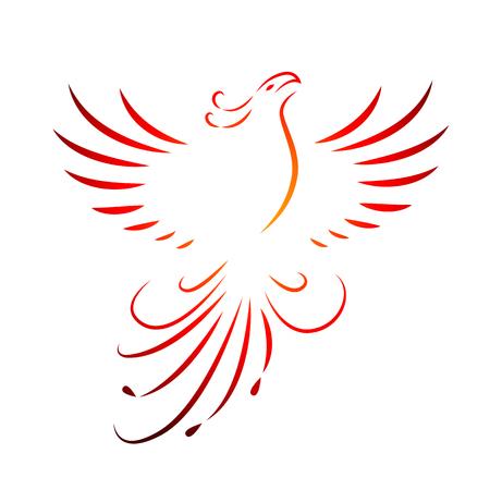 Dibujo de líneas de alas ascendentes de fénix rojo aislado en un fondo blanco ilustración vectorial EPS10