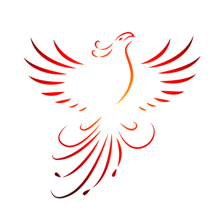 red phoenix rising wings line drawing isolated on a white background vector illustration EPS10