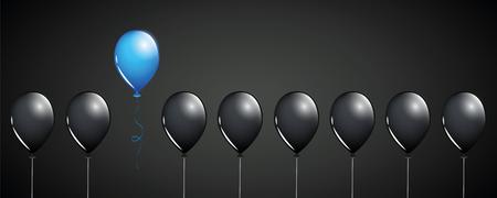 Globo azul volar lejos de globos negros sobre fondo negro diseño de concepto diferente ilustración vectorial EPS10
