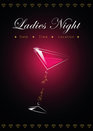party ladys night flyer design template with cocktail glass vector illustration EPS10 Illustration