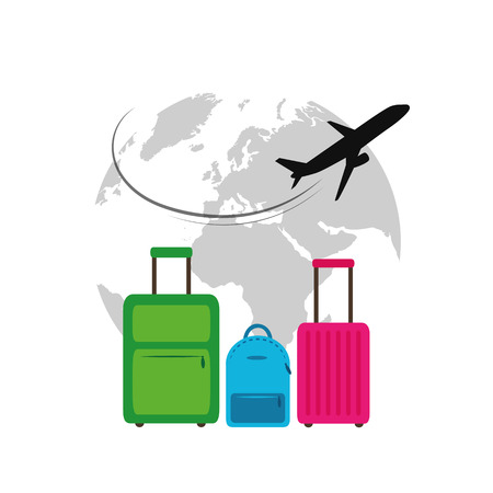plane flying around the globe colorful cases travel illustration vector EPS10