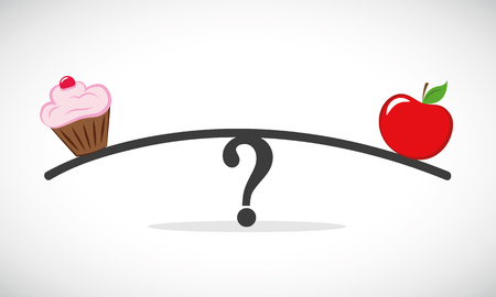healthy apple and unhealthy fast food libra with question mark vector illustration EPS10