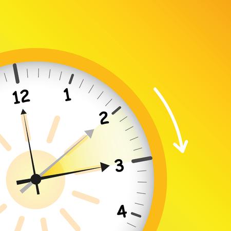 Hora de verano hora estándar del reloj amarillo después de avanzar para el horario de verano ilustración vectorial EPS10