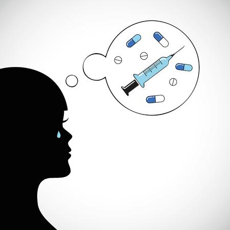 Femme pleure à l'idée de médicaments et d'injections vector illustration EPS10