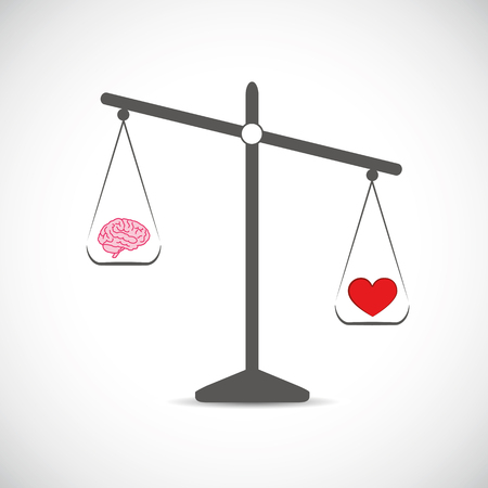 brain and red hearth in balance vector illustration
