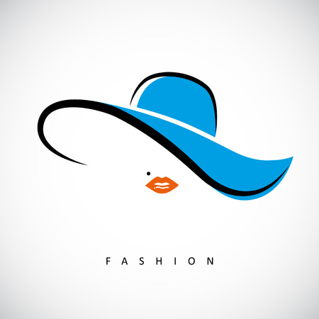 sexy lady with blue summer hat fashion design vector illustration EPS10