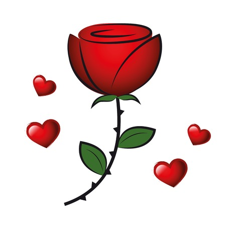 red rose and hearts for valentins day isolated on white background vector illustration EPS10