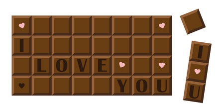 I love you chocolate bar with hearts vector illustration EPS10