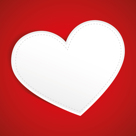 white paper heart tag on red background vector illustration EPS10