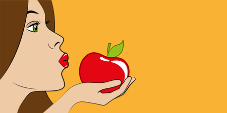 beautiful woman with red lips eats a red apple vector illustration EPS10