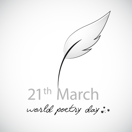 world poetry day 21th march sketch of a fountain pen vector illustration EPS10