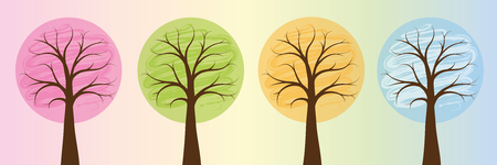 four seasons colorful trees in bright colors spring summer autumn winter vector illustration EPS10 Standard-Bild - 126372244