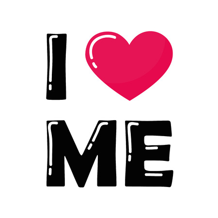 I love me typography with pink heart vector illustration EPS10