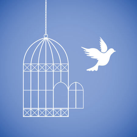 white dove flies out of the cage vector illustration EPS10