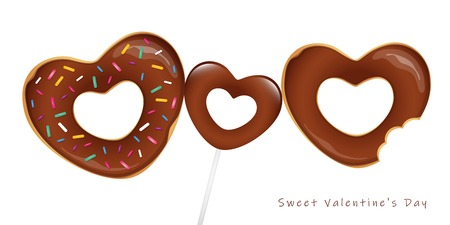 sweet valentines day with chocolate donuts and lollipop vector illustration EPS10 Illustration