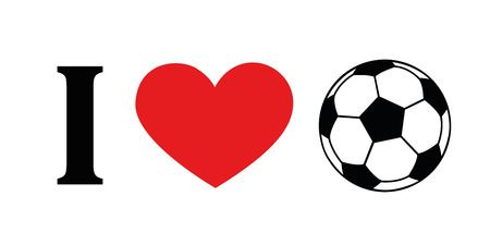 I love football pictogram typography with red heart vector illustration EPS10