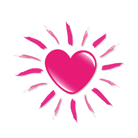 pink heart shaped sun isolated on white backgound vector illustraton EPS10