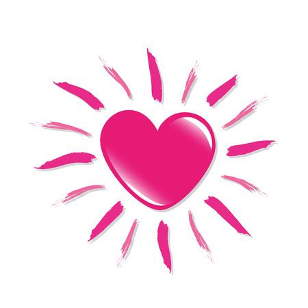 Soleil en forme de coeur rose isolé sur fond blanc illustraton vecteur EPS10