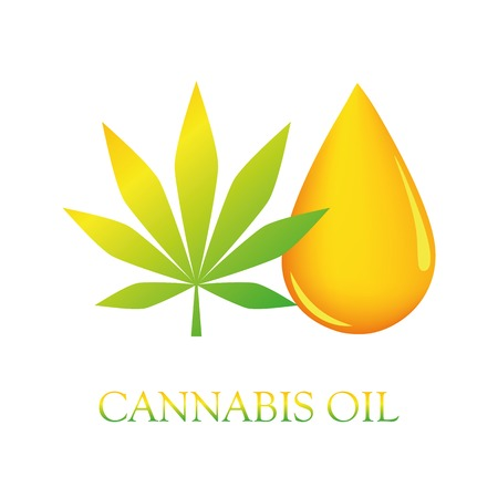 cbd cannabis oil drop and leaf vector illustration EPS10