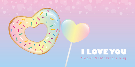 colorful sweet valentines day candy heart shaped donut and lollipop vector illustration EPS10