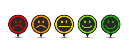 rating satisfaction feedback in form of emotions speech bubble vector illustration Illustration