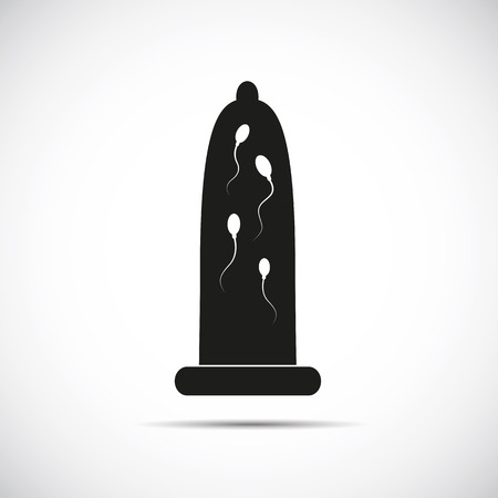black condom with sperms inside vector illustration