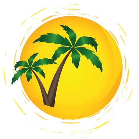 two palms in the sunshine summer holiday vector illustration EPS10