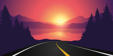 road to the lake in the forest at sunrise with mountain landscape vector illustration EPS10
