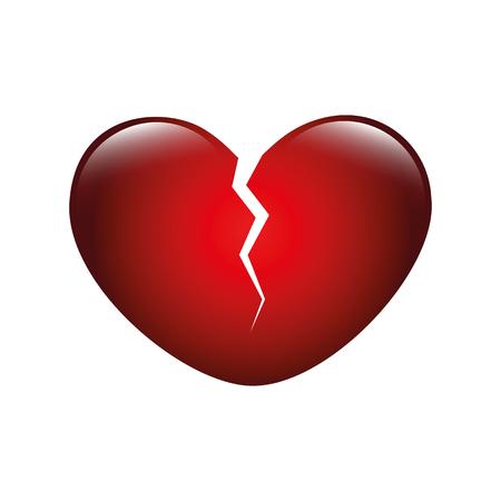 red shiny broken heart isolated on white background vector illustration EPS10
